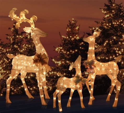 outdoor lighted deer family outdoor yard lighted reindeer family set