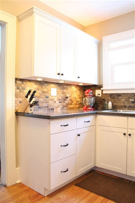 small kitchen remodel featuring slate tile backsplash remodelaholic