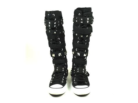 converse shoes for knee high xx hi knee high converse all black studded boots with