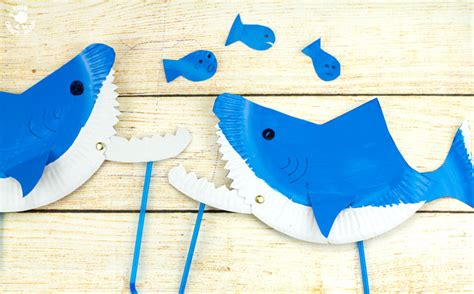paper plate shark puppet craft craft room