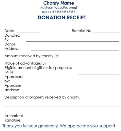 printable tax receipts for donations donation receipt template 12 free sles in word and excel
