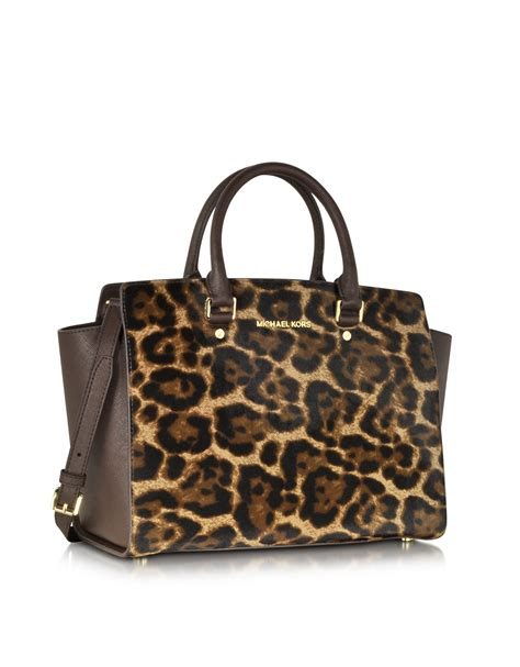 Michael Kors Hair Calf Cut Out Handle Purse by Michael Kors Selma Leopard Hair Calf Large Satchel In