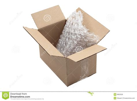 Buble Packing wrap in open cardboard box stock photo image 8802928