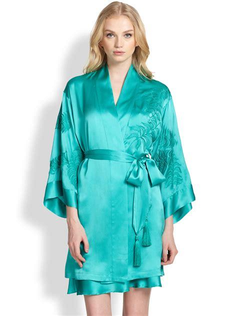 kimono robe josie natori embroidered satin kimono robe in blue