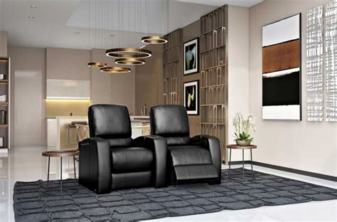 magnolia home theater seating  black top grain leather