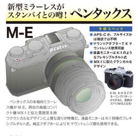 compact with aps c sensor pentax m e mirrorless coming with aps c sensor