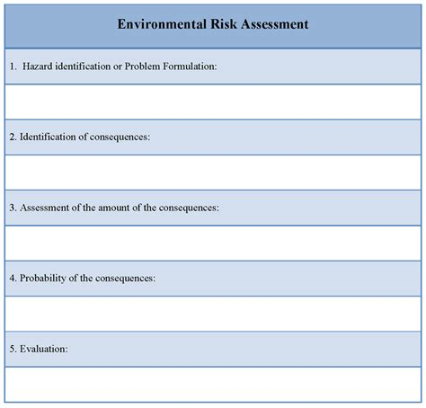 risk assessment template assessment template for environmental risk format of
