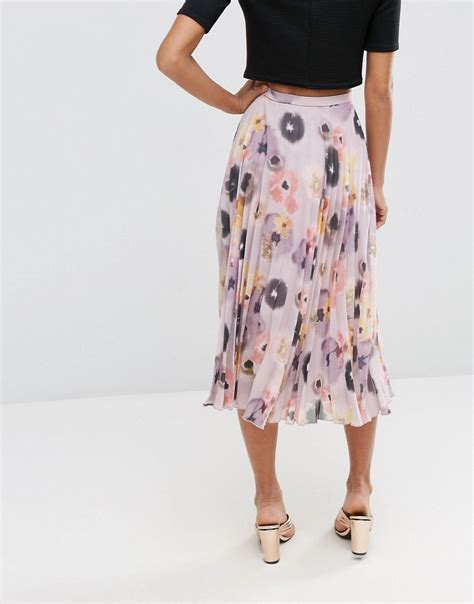 Pleated Floral Midi Skirt asos asos pleated midi skirt in floral print at asos
