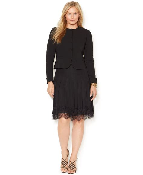Pleated Dress 16091 Black lyst by ralph plus size pleated lace trim