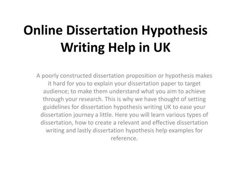 dissertation hypothesis ppt get dissertation hypothesis writing help by