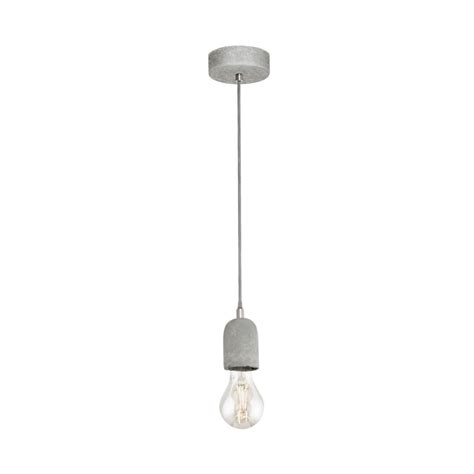 Single Pendant Lights Eglo 95522 Silvares Concrete Single Pendant Light