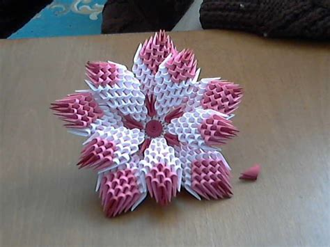 How To Make A Small Origami Flower - 3d origami flower tutorial model1
