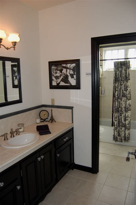 beige and black bathroom ideas magnificent toile curtains in bathroom mediterranean with