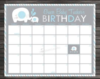 Baby Sweepstake Template - due date calendar etsy