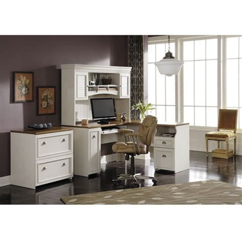 Bush Fairview Collection L Shaped Desk With Hutch And 2 Bush Fairview Collection L Shaped Desk