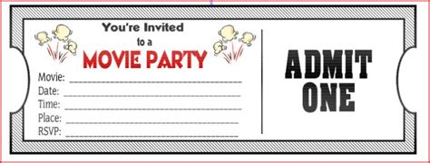 free printable movie tickets invitations movie ticket birthday invitations ideas bagvania free