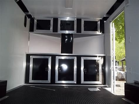 aluminum cabinets enclosed trailer base and overhead cabinets inside enclosed trailer 8 5 x