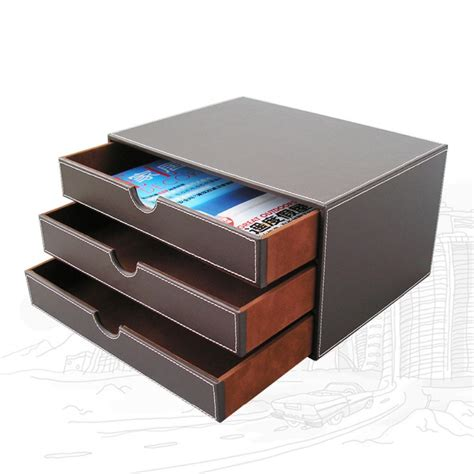 Drawer Holder by 3 Drawer 3 Layer Leather Desk Filing Cabinet File Document