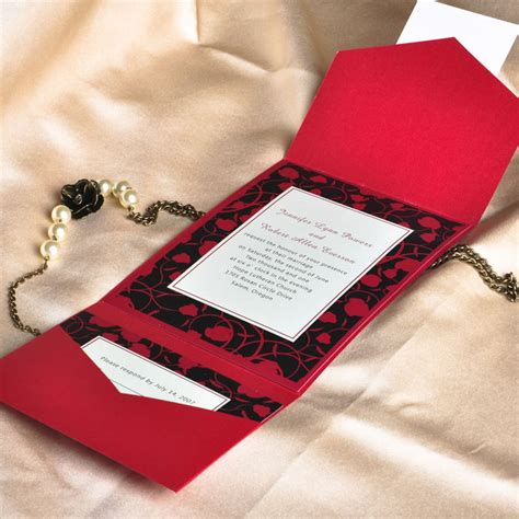 Red Printable Wedding Invitation Kits   modern red and black pocket printable wedding invitation