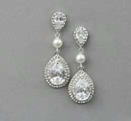drop bridal earrings bridal teardrop drop earrings wedding by lavenderbyjurgita