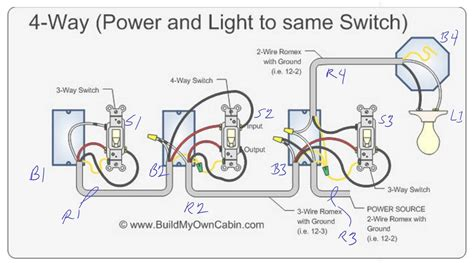 four way switch diagram with light in middle wiring