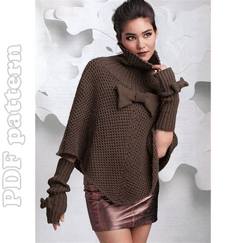 knit poncho pattern poncho and fingerless gloves knitting pattern pdf