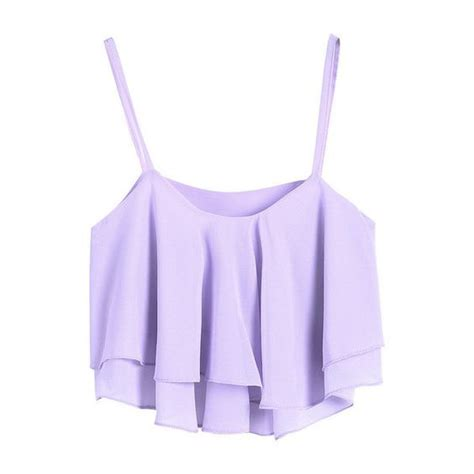 ruffled layers crop top lavender 19 liked on polyvore