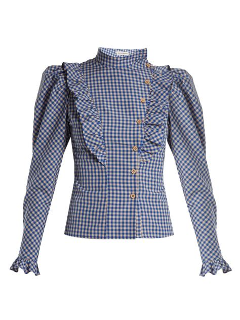 Vika Blouse T2909 2 vika gazinskaya high neck ruffle trimmed gingham blouse in blue modesens