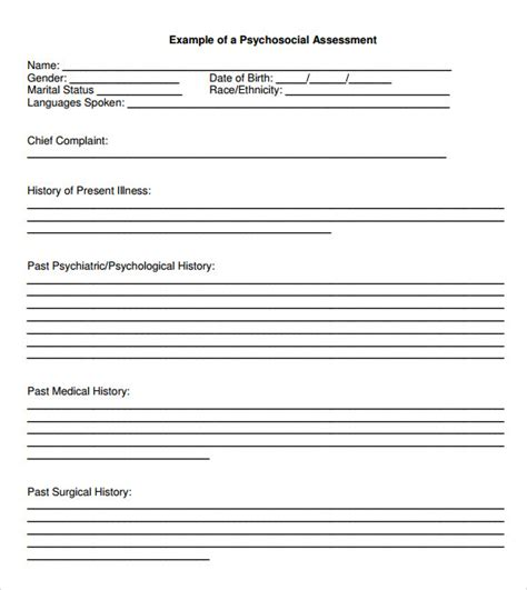 needs assessment template for social workers sle psychosocial assessment 8 documents in word pdf