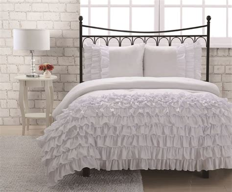 ruffle comforter set com full miley mini ruffle comforter set white