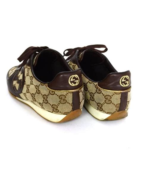 Shoes Gucci D4168 Sale Bahan Canvas gucci brown leather and monogram canvas plus sneakers sz 38 for sale at 1stdibs