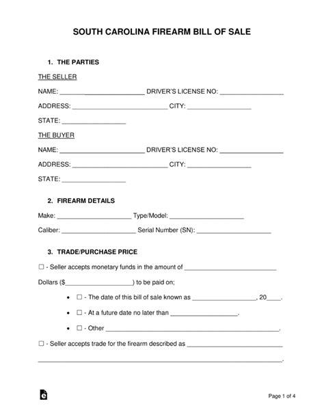 boat trailer bill of sale south carolina free south carolina firearm bill of sale form word pdf