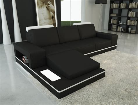 divani casa 5075b black and white leather sectional sofa