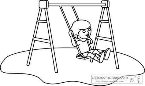 swing black and white children girl on a playground swing set outline