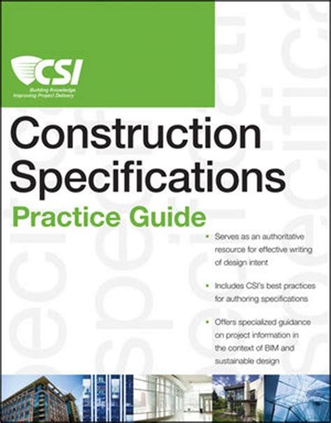 csi spec sections wiley the csi construction specifications practice guide