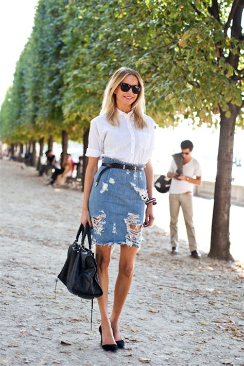 7 For Style by Le Fashion 7 Ways To Style A Distressed Denim Skirt