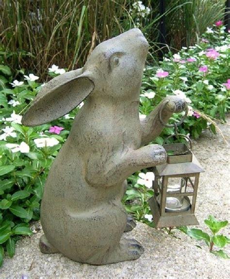 rabbit lantern candleholder garden statue bunny candle
