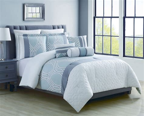 blue bed in a bag 12 piece madlyn ice blue white bed in a bag set