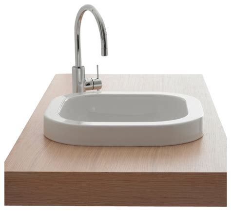 built in bathroom sink square white ceramic built in sink no hole contemporary