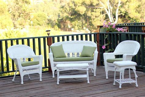 White Resin Wicker Patio Furniture 4 White Resin Wicker Patio Furniture Set Loveseat 2 Chairs Glass Top Table Walmart