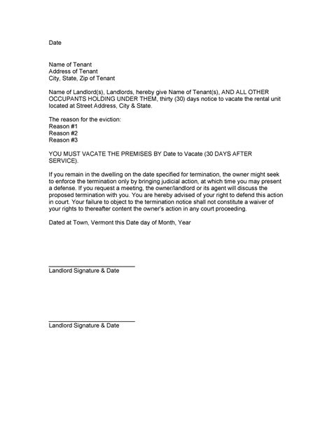 eviction notice templates lease termination letters