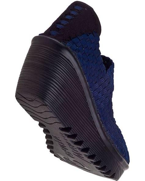 New Lulia Vs3219 Blue bernie mev lulia wedge navy fabric in blue navy fabric lyst