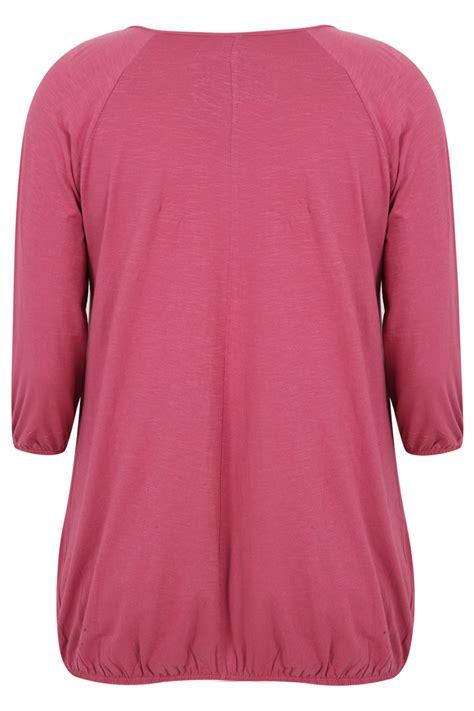 Pink Babol Hem pink 3 4 sleeve top with hem plus size 16 18 20 22 24 26 28 30 32