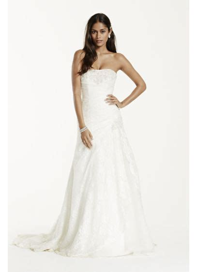 Ee  Strapless Ee   Lace  Ee  A Line Ee   Gown With Side Split Davids Bridal