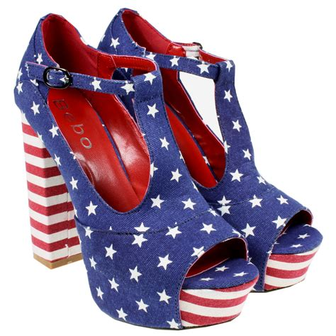 womens high block heel t bar american flag platform