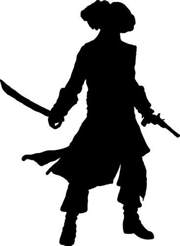 Pirata con silueta de pistola y espada | Vectores de