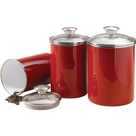 red kitchen canister tramontina 3 piece covered porcelain canister set red