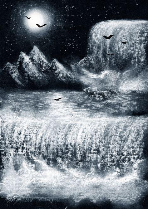 imagenes para dibujar en cartulina negra los dibujos de jexuxin paisaje nocturno pastel blanco
