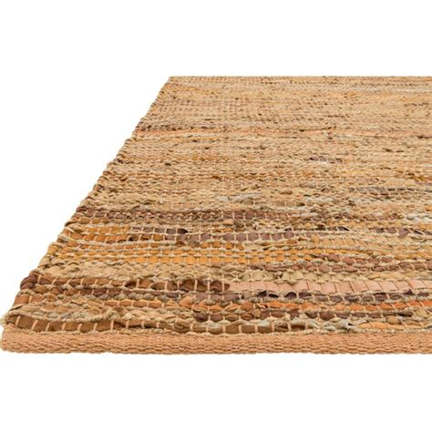 Leather Woven Rug by Uzo Coastal Jute Leather Woven Rug 3 6x5 6 Kathy