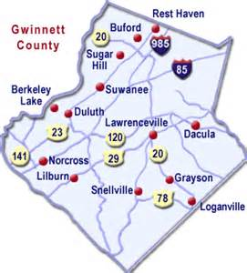 map of gwinnett county county map cities